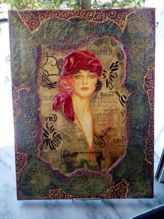 Decoupage on canvas