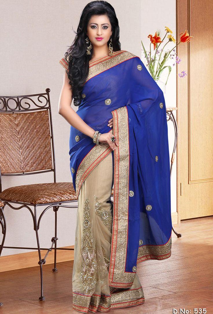 #blue #net #saree