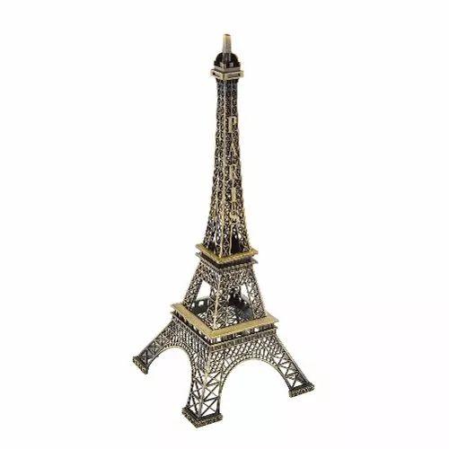 torre eiffel miniatura réplica decoração imitação ouro 18 cm