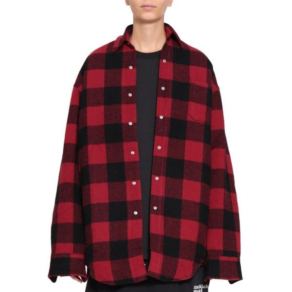 Vetements Wool flannel oversized shirt (15.095.235 IDR) ❤ liked on Polyvore featuring tops, red, lined flannel shirt, red shirt, oversized long sleeve shirt, long-sleeve shirt and red flannel shirt