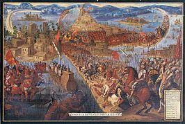 De Spaanse veroveraar Cortés valt de Azteekse stad Tenochtitlàn aan. (1520)