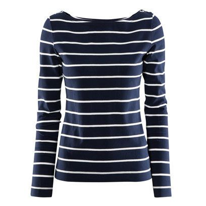 Navy and white striped top by H: Breton Tops for the Weekend