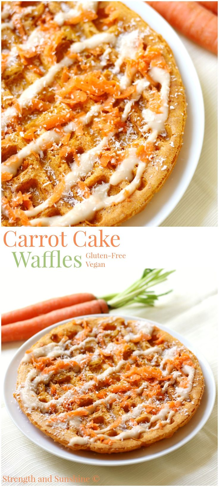 Carrot Cake Waffles | Strength and Sunshine @RebeccaGF666 A secret ingredient to easily sneak in more veggies than you thought possible in a delicious breakfast recipe! Gluten-free & vegan carrot cake waffles you can feel good about making, any day of the week!