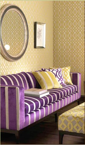 Purple Couch Yellow Walls Why Not Literally Surround Yourself In The Rich Colors Of
