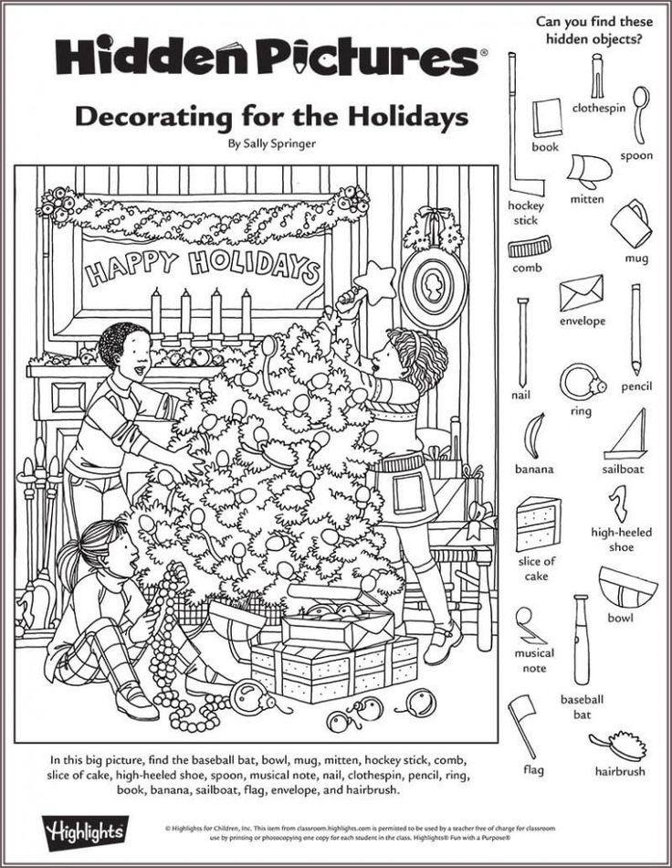 Decorating for the Holidays Hidden Pictures Puzzle