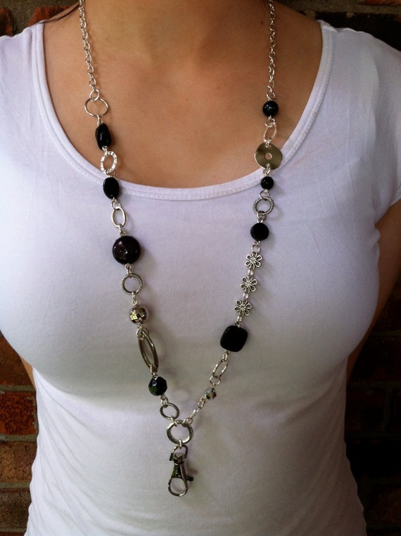 $15 Dainty Black and Silver Lanyard Necklace