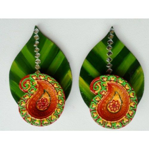 Green Leaf diya set - Online Shopping for Diyas and Lights by Megha's Artwork