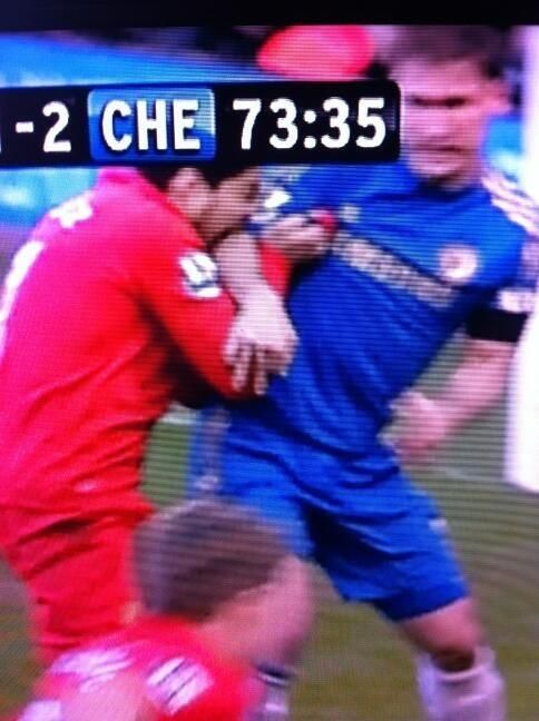 Luis Suarez biting Ivanovic. Correct me if I'm wrong, but I'm pretty sure you can't do that in the Premier League. And he's done it twice.