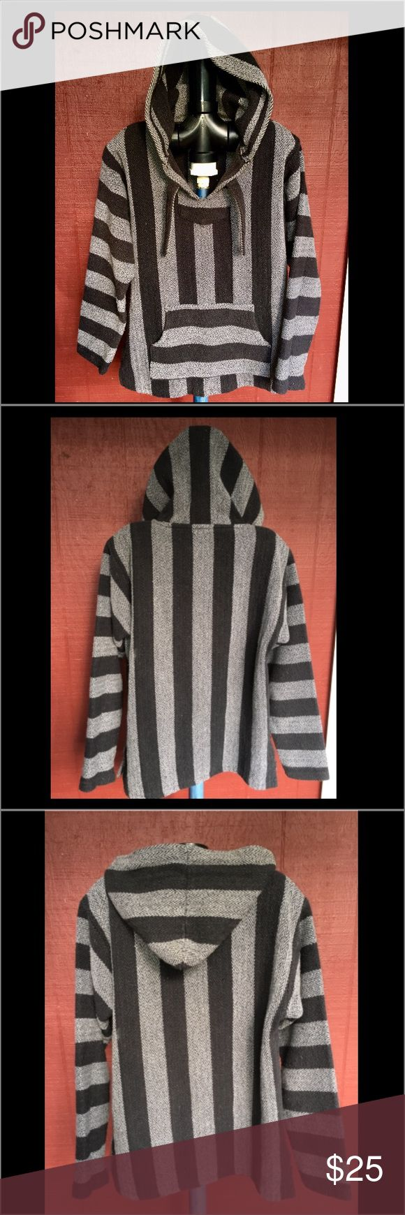 "Retrofit Hoodie Baja Poncho Mexico Stoner size L 80s 90s Retro style Black & Grey thick cotton Mexican blanket type material. Anyone else remember ""Fast Times at Ridgemont High"" ? New condition without tags. Size Large Retrofit Jackets & Coats Puffers"