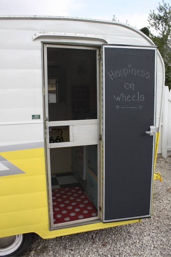 How to paint your vintage trailer door with chalkboard paint .... I don : camper doors - pezcame.com