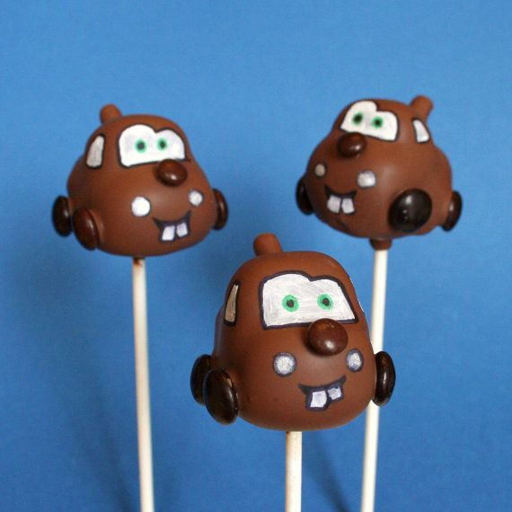 12 Cars Cake Pops inspired by Disney's McQueen by SweetWhimsyShop