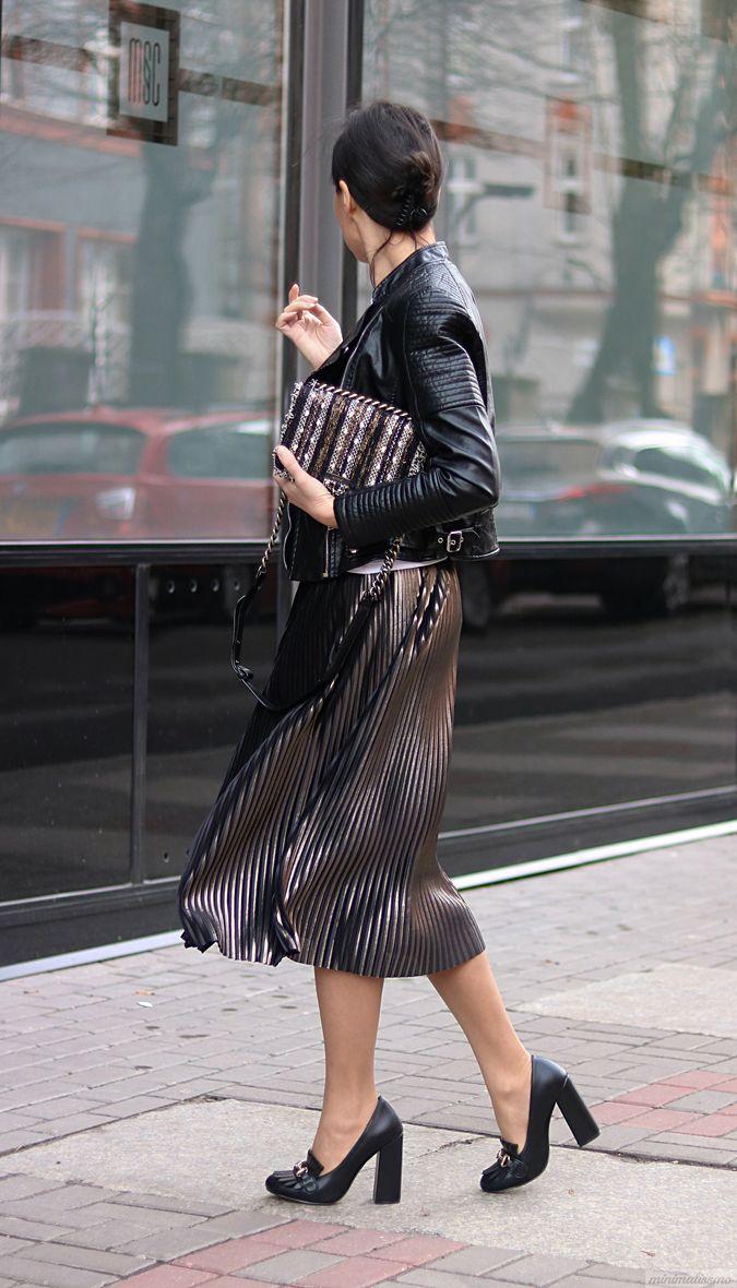 плиссированная юбка блестящая