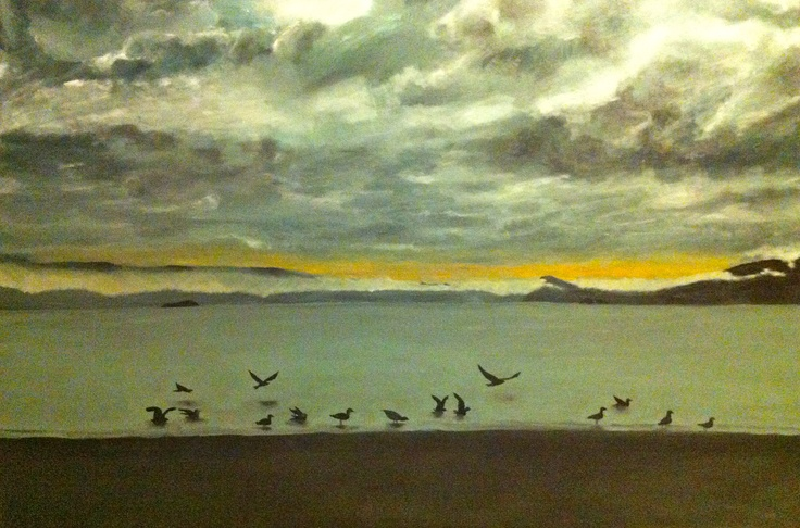 Before the Storm- Seatoun Beach. Acrylic on canvas.