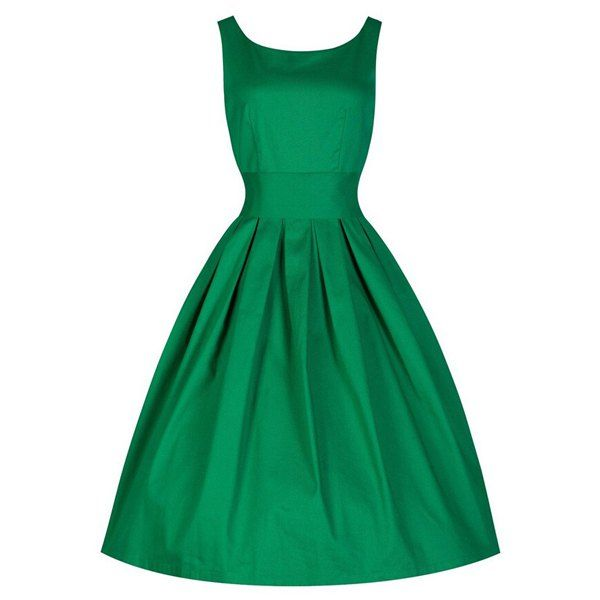 Vintage Scoop Collar Sleeveless Solid Color Women's Midi Dress (GREEN,M) in Vintage Dresses   DressLily.com