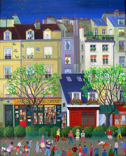 Paris - Shakespeare And Company;;Cellia Saubry French Naive Artist