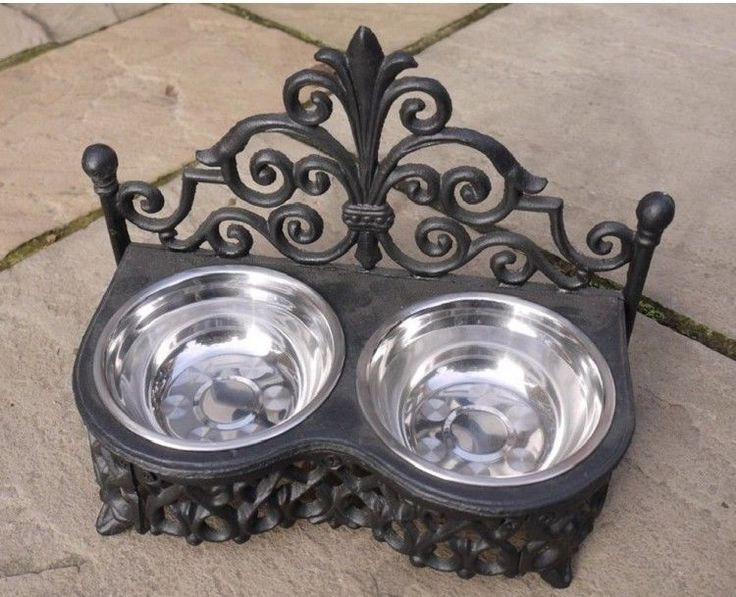 Carved Metal Chic Pet Feeder Dog Cat Double Stainless Steel Food Water Black Uk