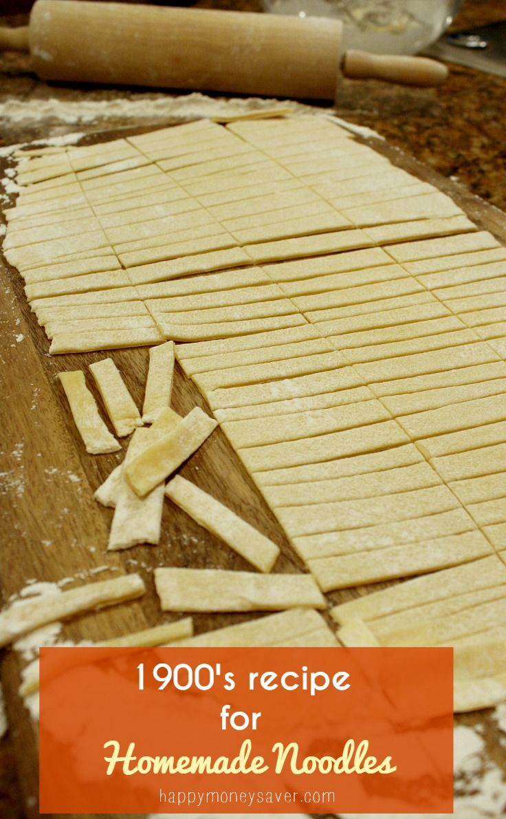 This homemade noodles recipe comes from a 1900's recipe box. If you want to make noodles from scratch, the old fashioned way, this is a great recipe to try.