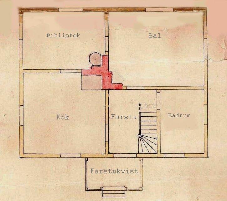 Planlösning i bostadshuset. Ritning: Okänd #gamla #hus #byggnadsvård
