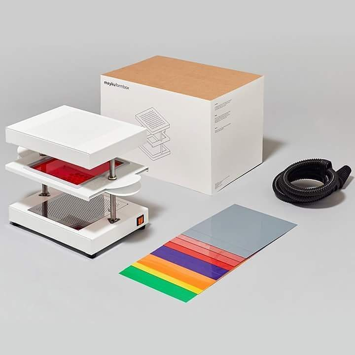 Design News - Mayku FormBox  FormBox is a compact vacuum forming machine powered by a hoover allowing user to replicate forms using sheets of thermoplastic in a more affordable way.  Producing cheap moulds for prototypes/products favors small batch production that retains the qualities and consistency of mass manufacture.  After a successful Kickstarter project with almost 600.000$ of funding FormBox will start shipping with a price tag of 349$. #ProductDesign #DesignNews #Mayku #FormBox