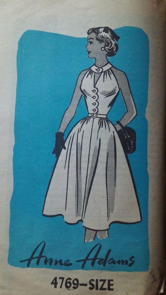 1950s Vintage Rockabilly Anne Adams Halter Dress Sewing Pattern 2769 Sz 11 *FF*