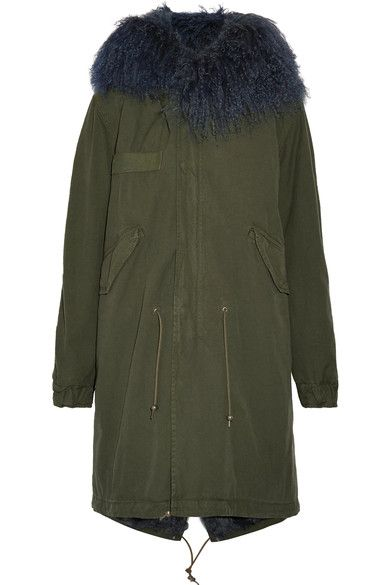 Army-green cotton-canvas, midnight-blue shearling Concealed snap and zip fastenings through front 100% cotton; trim: 100% leather (Lamb); lining1: 100% shearling (Sheep); lining2: 65% polyester, 20% acetate, 15% viscose; lining2: 100% shearling (Lamb) Designer color: London Green Specialist clean Made in Italy