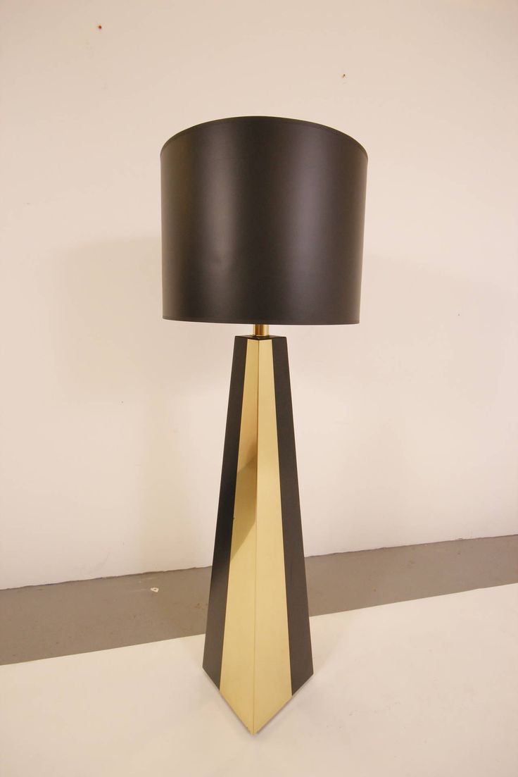 Art deco silver and stacked crystal ball floor lamp at 1stdibs - Stunning Paul Evans Style Brass And Black Enamel Floor Lamp
