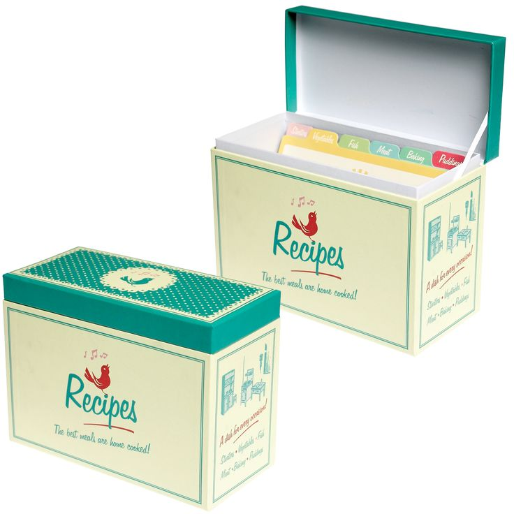 recipe box - great idea for a bridal shower, have all the guests write their favorite recipe on a card.  Or...have them write it at home and bring it to the shower!