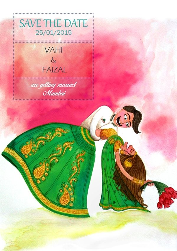 Save the date, wedding invite. Indian bride and groom.  Illustration, water color on paper on Behance