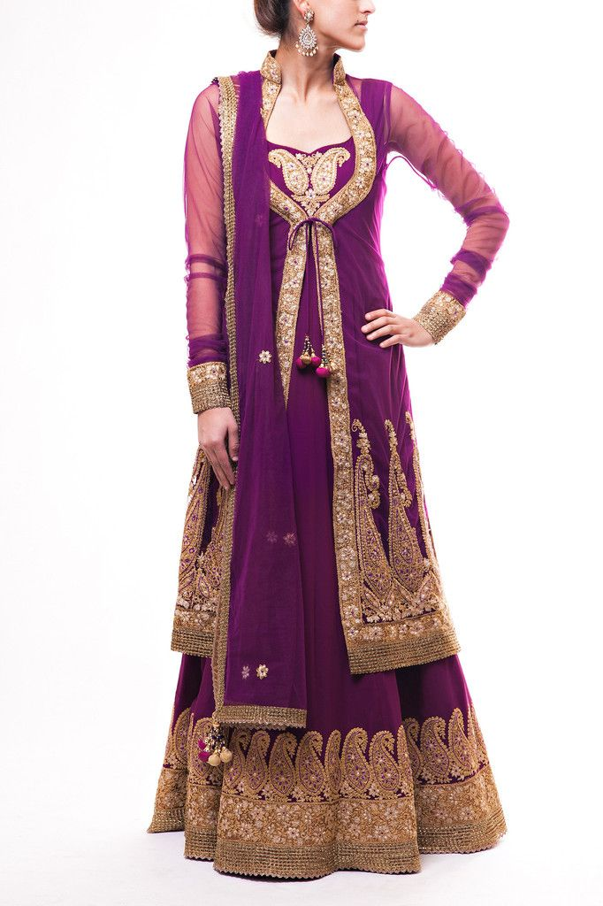 Gorgeous Purple floor length Anarkali with paisley embroidery paired with long sleeve net jacket with kasab and resham work paired with Purple net dupatta.