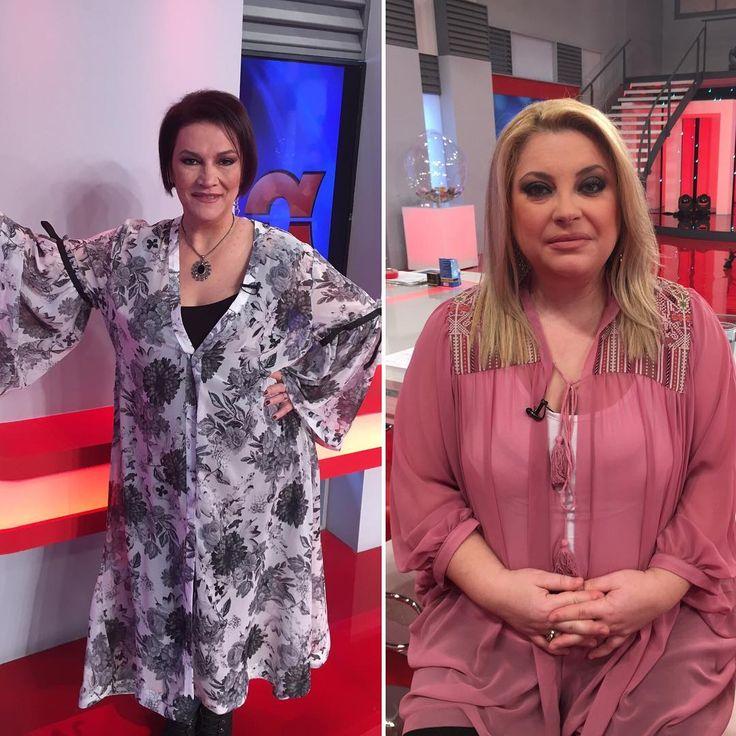 "Happening Now @epsilon_tv : Η Αλεξάνδρα Τσόλκα με floral @matfashion κιμονό [code: 671.7306] και η Νάνσυ Νικολαΐδου με διάφανη ροζ #matfashion ζακέτα [code: 671.4020.2] τώρα στην εκπομπή ""Αποκαλυπτικά"" #wears_mat #springsummer2017 #epsilontv"