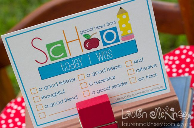 "let's go to school {FREE} printable from lauren mckinsey. {the FREE printable can be found at the bottom of the website under FREEBIES} teachers will love sending home this ""today i was..."" note home to parents to brag on their little scholar."