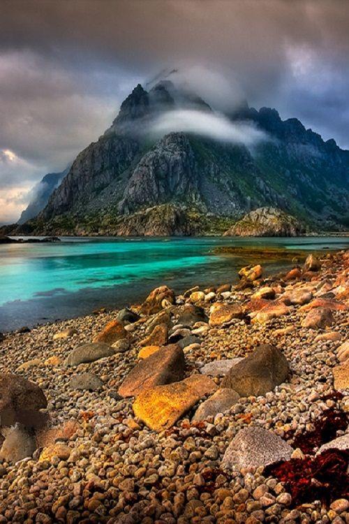 Mountain Scene Norway. Lofoten Islands. by Barbara Jones
