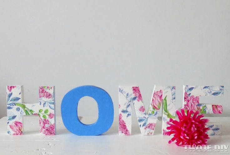 Decoupage wood letters