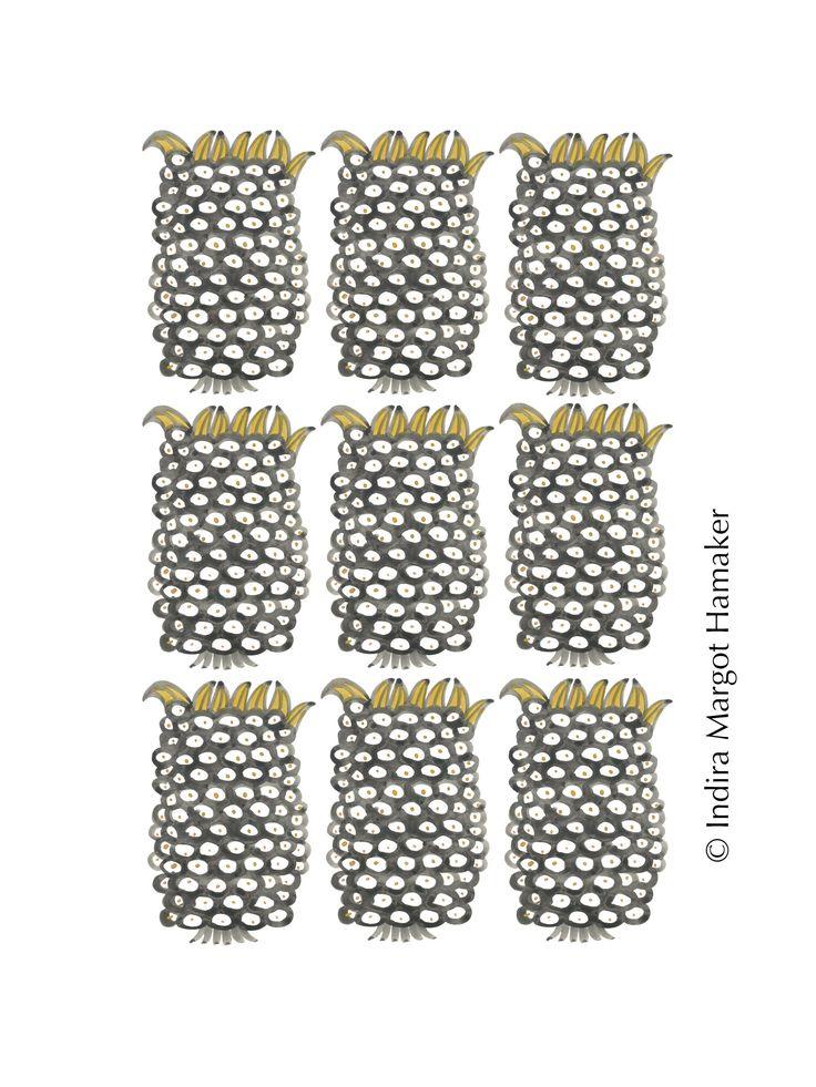 'Black and Yellow Pineapple' illustration, print, pattern by Indira Hamaker