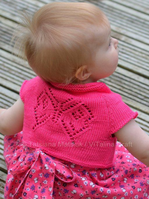 Papillon Bolero baby cardigan knitting pattern with lace butterfly |  Baby and Toddler Sweater Knitting Patterns, many free patterns including cardigans, pullovers, jackets and more http://intheloopknitting.com/free-baby-and-child-sweater-knitting-patterns/