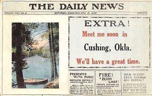 1914 Newspaper. Cushing, OK Daily News Extra.