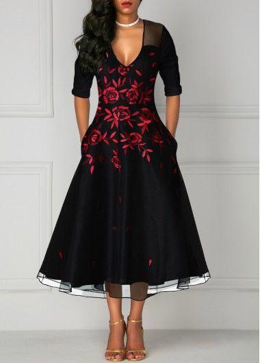 0c03f66090e V Neck Flower Print Mesh Panel Black Dress