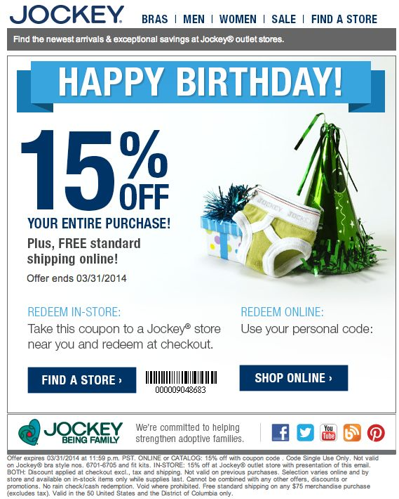 Jockey Coupon Code & Promo Codes All Coupons (19) Promo Codes (15) Online Sales (4) In-Store Offers (0) 25% OFF. Code. 25% Off Any Purchase working out and more. Be sure to check out Jockey coupon codes to save on more than just undergarments. Company About Us Jobs Tools Press Money Makers. Help Forums Blog Contact FAQs Advertisers.