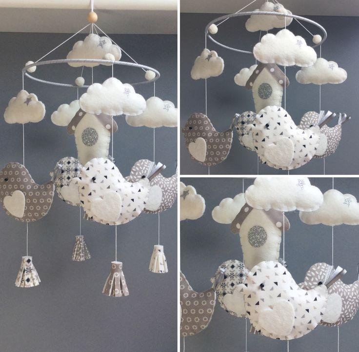 25 best ideas about oiseaux en tissu sur pinterest motifs d 39 oiseaux et oiseaux en feutrine - Fabriquer mobile bebe nuage ...