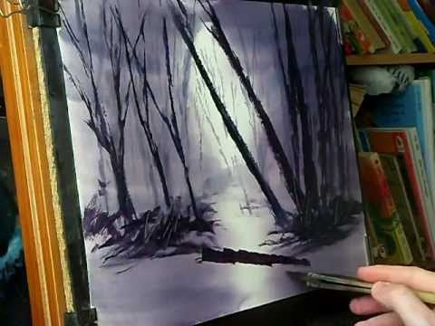 A simple technique for painting misty woods in watercolour using a limited palette of Alizarin Crimson, Ultramarine and Payne's Gray. http://www.WatercolourP...