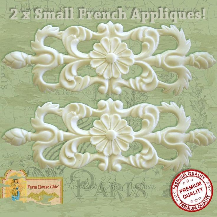 2 x Gorgeous Shabby Chic French Small Furniture Appliques Mouldings Decorations