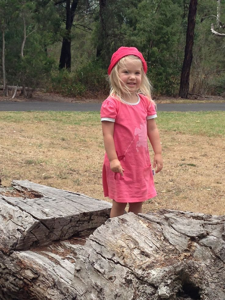 """Sophie looking super cute and super pink in our """"Pegasus Training"""" dress."""
