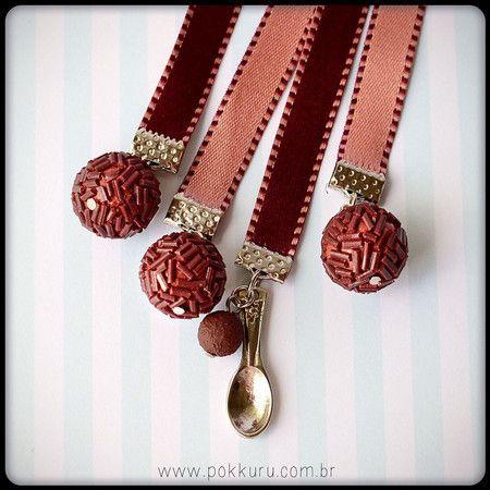 marcador de páginas brigadeiro de colher - tradicional - pokkuru - doceria de bijoux