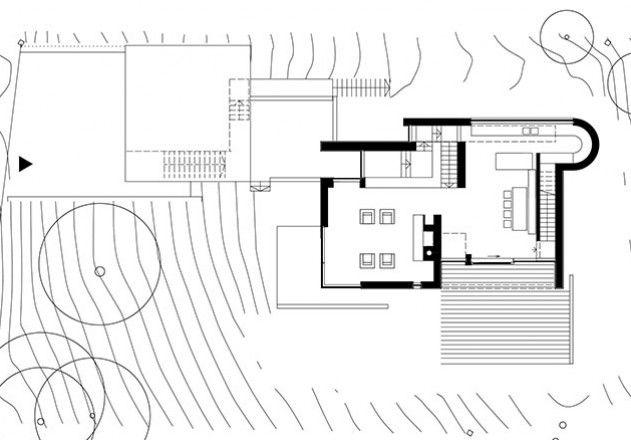 Kleiner Grundriss am Hang Grundriss, Moderne