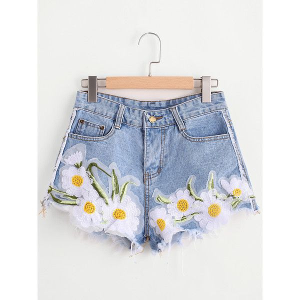 Sunflower Appliques Ripped Frayed Hem Denim Shorts ($17) ❤ liked on Polyvore featuring shorts, ripped jean shorts, sunflower shorts, distressed shorts, torn shorts and destroyed shorts