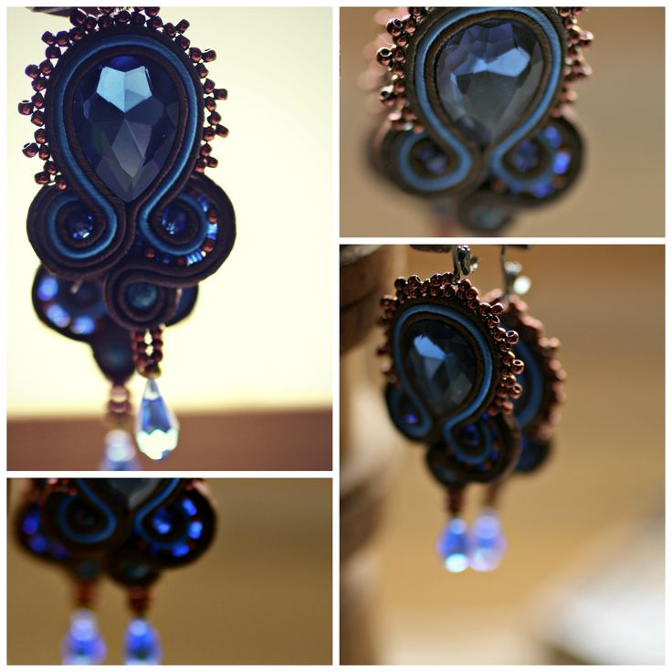Brown and blue soutache earrings
