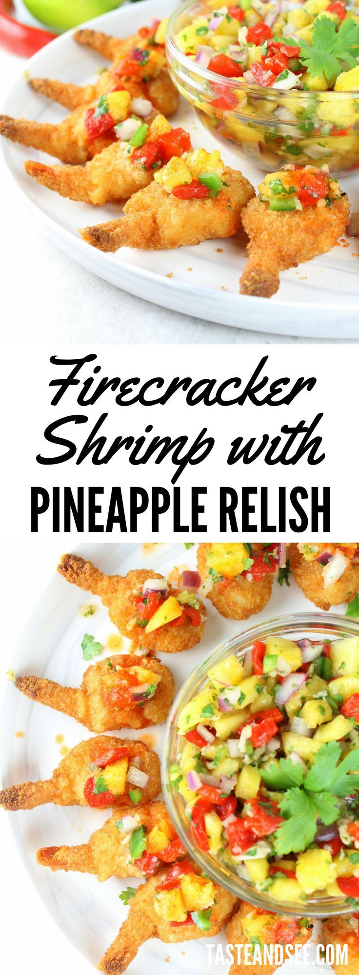 Crispy Firecracker #Shrimp with Pineapple Relish - An easy, stress-free #appetizer your guests will devour!  Fresh and delicious with just a little kick.   https://tasteandsee.com