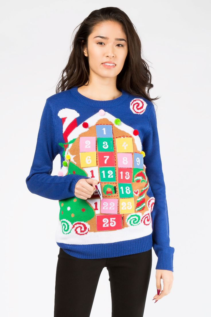 Girls Christmas Calendar Sweater Pull Over