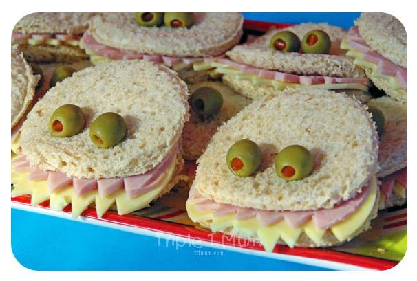 Monster Themed Party Food. Monster Sandwiches. A little bit of effort but worth it for the effect!