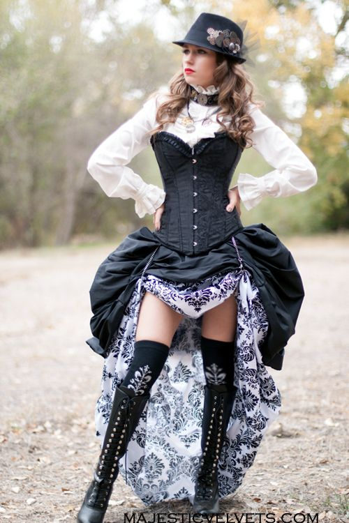 3 Pc. Victorian Steampunk Black Corset with Double White  Majesticvelvets.com